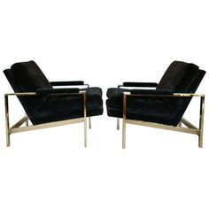 Delicieux Pair Of Mirror Polished Brass Lounge Chairs By Milo Baughman For Thayer  Coggin