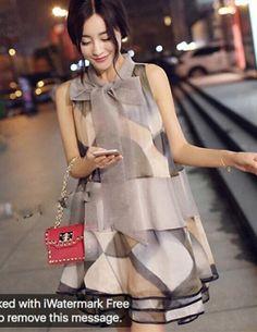 Đầm suông cột nơ - B6179