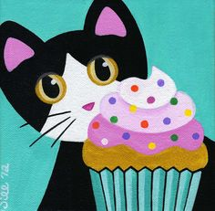 Tuxedo CAT and CUPCAKE with Pink Frosting & Sprinkles Folk Art PRINT from Original Painting by Jill by thatsmycat on Etsy https://www.etsy.com/listing/96357878/tuxedo-cat-and-cupcake-with-pink