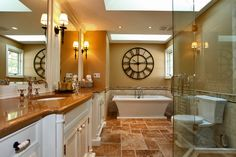 Incredible Wall Clock decorating ideas for Stunning Bathroom Traditional design ideas with bathroom lighting bathtub ceiling lighting clock custom ensuite freestanding freestanding bathtub heated