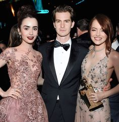 Lily Collins, Andrew Garfield, and Emma Stone at the 74th Annual Golden Globe Awards afterparty on January 8, 2017 in Beverly Hills, California