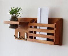 Mail Organizer - Mail And Key Holder - Key Hooks - Jar Vase - Organizer - Painted Distressed Wood - Wall Hanging - mason jar - handmade