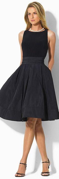 Lauren Ralph Lauren Pleated Fit-and-Flare Dress: Shop this Style Little Black Dress Outfit, Black Dress Outfits, Dress Black, Spring Outfits, Trendy Dresses, Nice Dresses, Casual Dresses, Classic Dresses, Elegant Dresses