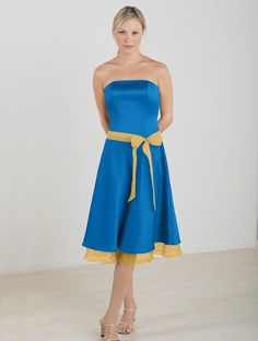 Marine Blue in satin and Maize in chiffon
