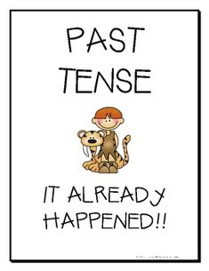 FREE from Miss Frizz  on TpT. Thistlegirl Design Signs that model Past, Present, and Future Tenses....