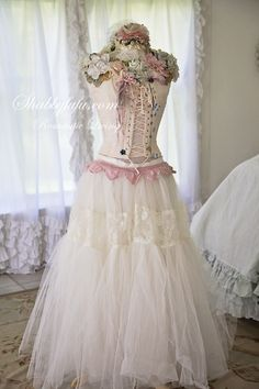 Vintage Corset Laced Prairie Girl Gown