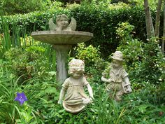 """My """"children"""" sculptures to remind me of my grown kids always have a place in the garden."""
