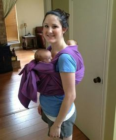 Babywearing two babies (twins) one on front, and one on back (Rucksack/Tibetan Carry)