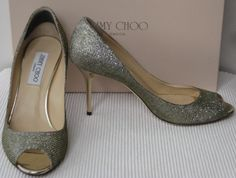 Jimmy Choo 'Evelyn' lame glitter pumps. Silver/gold mix lame fabric with shiny gold heel & peep toe. SIZE 8.5