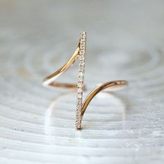 Pave Rose Gold Vertical Bar Ring Sterling Silver from kellinsilver.com