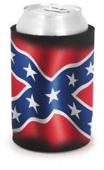 Can Koozie Confederate Flag (Cooter's on Bottom) BLACK
