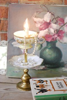 Re-Purposed Recycled Shabby Vintage Tea cup and Saucer Night Light Countertop Lamp Tea Cup Lamp, Tea Cups, Vintage Table, Vintage Tea, Vintage Signs, Recycled Kitchen, Teacup Crafts, Small Lamp Shades, Glass Garden Art
