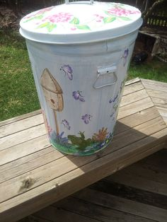 Decorative Hand Painted 20 Gallon Galvanized by krystasinthepointe