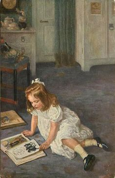 young girl in white dress, sits on floor and reads picture book - artist Hans Best Girl Reading Book, Reading Art, Woman Reading, Kids Reading, Illustrations, Illustration Art, Hermann Hesse, Book People, Books
