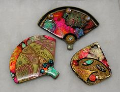 Polymer Clay Fan Pins & Pendant, via Flickr.