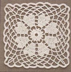 Four Crochet Lace Flower Motifs