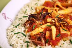 Calamari Stew with Saffron and Cilantro Rice
