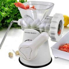 Kitchen Basics 3-In-1 Meat Grinder and Vegetable Grinder/Mincer, 3 Size Sausage Stuffer, Pasta Maker (White) >>> Continue to the product at the image link.