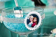 FROZEN disney princess Anna Elsa Girl Birthday Party Printable decor decorations centerpieces candy jar favor bags loot Instant Download