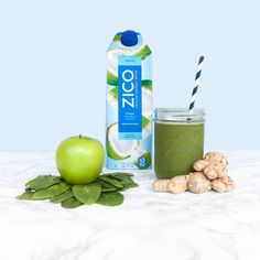 Make your morning green with this 5-ingredient smoothie recipe. Blend 2 cups of our ZICO chilled natural coconut water, 2 cups fresh baby spinach, 1 medium apple (cored), 1 tablespoon freshly grated ginger root and 1/2 cup ice. Thanks to our pal @forresterfit for the delicious idea.