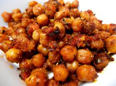 Roast chickpeas with home-made tomato sauce.