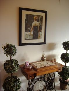 Antique sewing machine in entry way