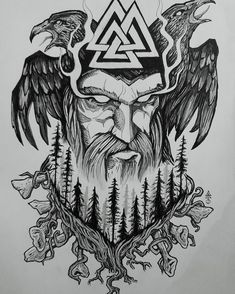Old Norse Odin tattoo design Made this symbolic design to represent God Odin and nordic forest, with huginn and munninn. Old Norse Odin tattoo design Made this symbolic design to represent God Odin and nordic forest, with huginn and munninn. Odin Symbol, Viking Tattoo Symbol, Viking Tattoo Design, Tattoo Symbols, Art Viking, Viking Symbols, Mayan Symbols, Egyptian Symbols, Viking Runes