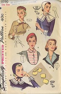 VINTAGE COLLARS CUFFS DICKEY HAT BERET 1950s SEWING PATTERN 1390 SIMPLICITY CUT | eBay
