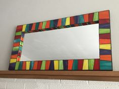 """Stained glass mosaic mirror, 36"""" x 18"""""""