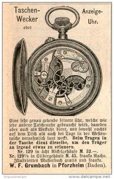 Original-Werbung/Inserat/ Anzeige 1891 - TASCHEN-WECKER / ANZEIGE-UHR / GRUMBACH PFORZHEIM - ca. 45 x 70 mm
