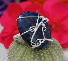 Sterling Silver ring with Onyx / wire wrapped / by AnnaPdesign