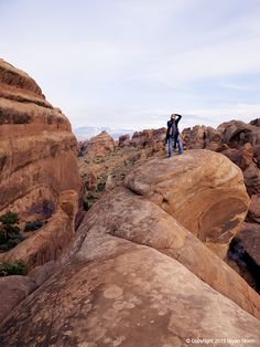 Photography Workshop atop the redrock features in Arches NP, Utah
