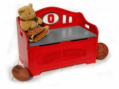 Ohio State Buckeyes OSU NCAA Stained Storage Bench