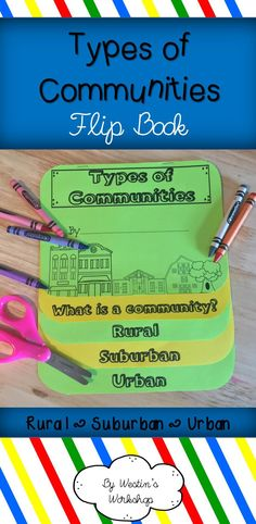 Flip book Fun! In this easy to assemble flip book, students learn about rural, suburban, and urban communities. There are FOUR versions of this book (two in color and two in black and white). One version provides students with definition of types of communities, while the other allows space for students to write their own.Each book page provides space for students to list what is found in the communities, as well as space to illustrate!