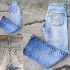 "VTG Levi's Jeans Naturally Distressed Destroyed Denim 32"" Waist  