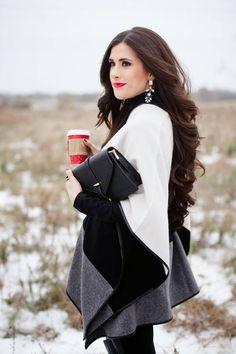 Emily Gemma looks-Tri Color Wool Cape