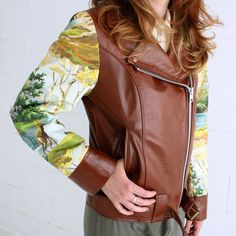Cognac Leather Biker Jacket with Paint by Number Fabric Sleeves - S, M or L, made to order. $449.00, via Etsy.