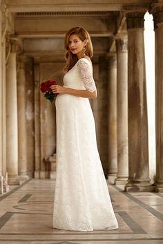 Dlouhé těhotenské svatební šaty Verona Bright Ivory by Tiffany Rose 027a73e9d44