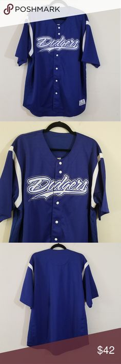 LA Dodgers True Fan Genuine Merch Jersey LA Dodgers True Fan Genuine Merch Baseball Jersey  Embroidered logo  Button closure with white contrasting buttons  White stripes on sleeves  Collarless  Short sleeve  Royal blue Size x-small  Pre-loved item in excellent condition Shirts Tees - Short Sleeve