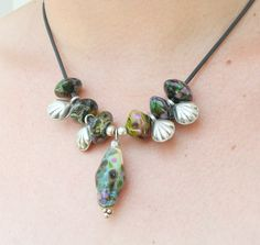 Lampwork Necklace in to the Night Unique Lampwork by CandanImrak, $64.00