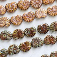 Multicolor Czech Glass Rustic Nautilus Shape Beads by KanduBeads