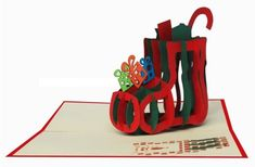 Christmas Greeting 3D Pop-Up Card/kirigami pattern
