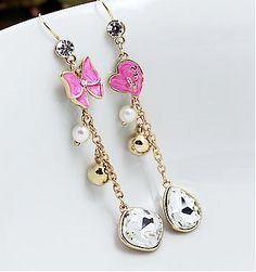 Pink Butterfly Heart Gold Faux Pearl Dangle Drop Long charm Fashion Earrings