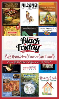 Our Black Friday FREEBIES Bundle includes 11 homeschool curriculum products valued at over $280 total.  Hurry though, it ends at 11:59PM EST on 11/28/17.