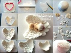 Tutorial how to make fondant angel wings without a silicon mold Fondant Toppers, Fondant Baby Torte, Baby Cakes, Baby Shower Cakes, Gateau Baby Shower, Baby Cake Topper, Fondant Cakes, Cupcake Cakes, Fondant Bow