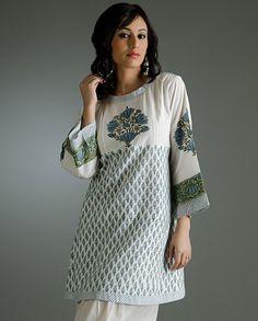 Simple block print cotton kurti