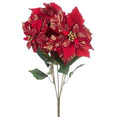 Red & Gold Printed Velvet Poinsettia Bush