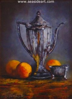 Silver Server   is an original oil painting by Karen Chamblin. The art measures 8″  x  6″ and the frame is 14″  x 12″