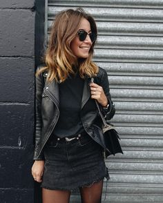 All black. Black leather jacket. Black mini skirt