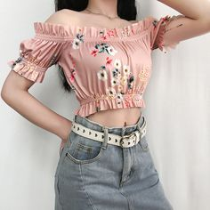 One-shoulder flower print pink girl short-sleeved top · FE CLOTHING · Online Store Powered by Storenvy Girl Outfits, Casual Outfits, Cute Outfits, Fashion Outfits, Teen Fashion, Womens Fashion, Grunge Fashion, Korean Fashion, Looks Black